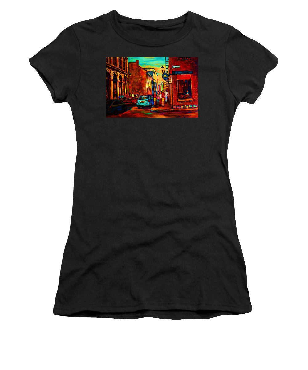 Vieux Port Women's T-Shirt (Athletic Fit) featuring the painting Cafe Le Vieux Port by Carole Spandau