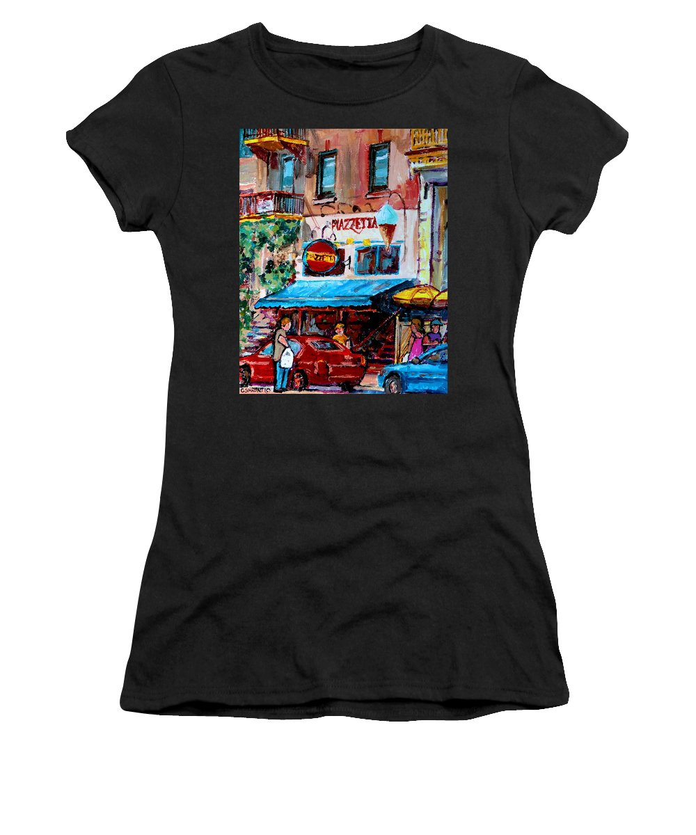 Cafes On St Denis Paris Cafes Women's T-Shirt (Athletic Fit) featuring the painting Cafe Piazzetta St Denis by Carole Spandau