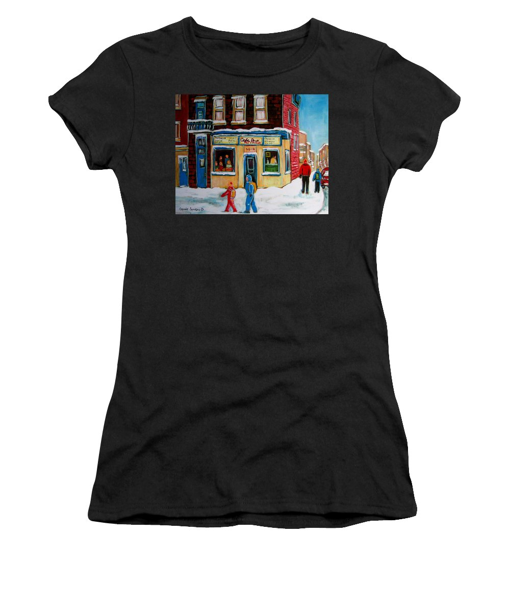 Cafe St. Viateur Montreal Women's T-Shirt (Athletic Fit) featuring the painting Cafe St. Viateur Montreal by Carole Spandau