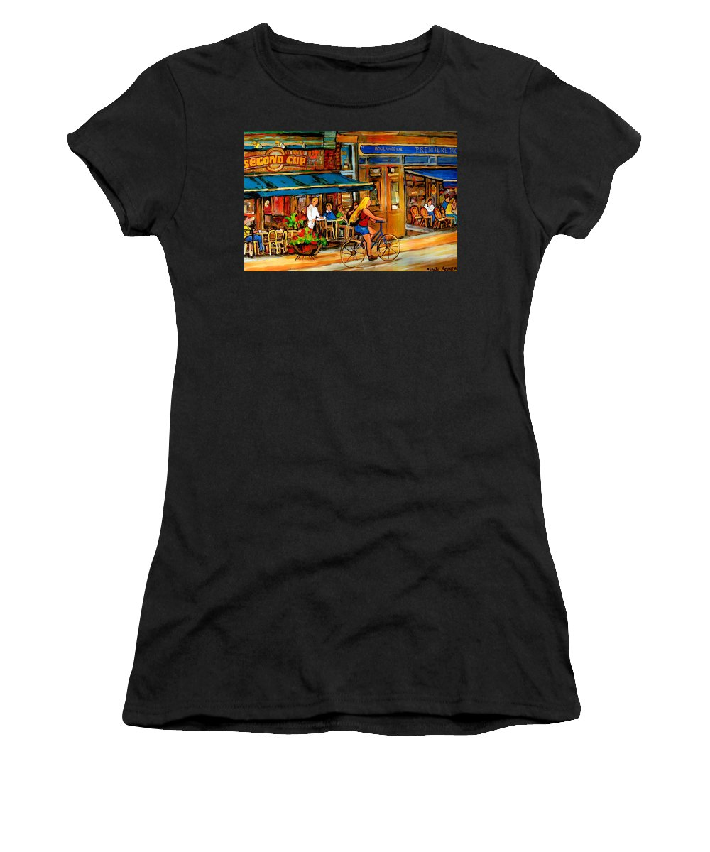 Cafes Women's T-Shirt (Athletic Fit) featuring the painting Cafes With Blue Awnings by Carole Spandau
