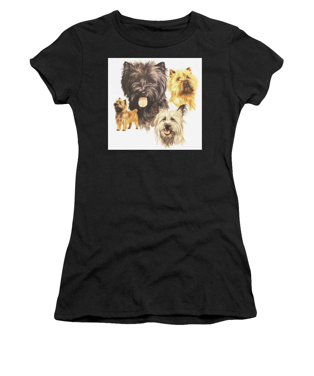 Terrier Women's T-Shirt featuring the mixed media Cairn Terrier by Barbara Keith