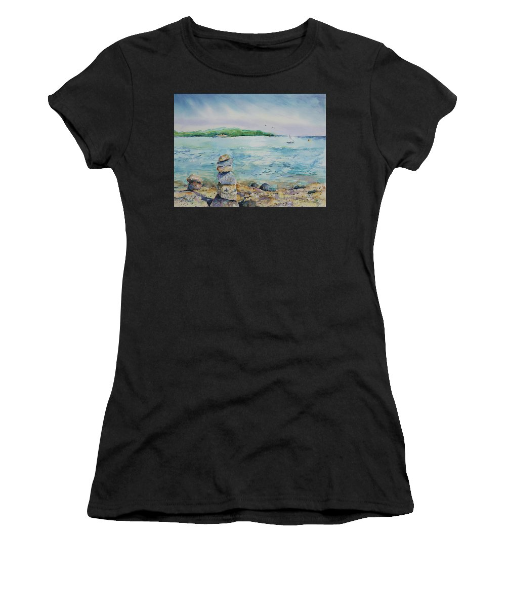 Beach Women's T-Shirt (Athletic Fit) featuring the painting Cairns On The Beach by Adam VanHouten
