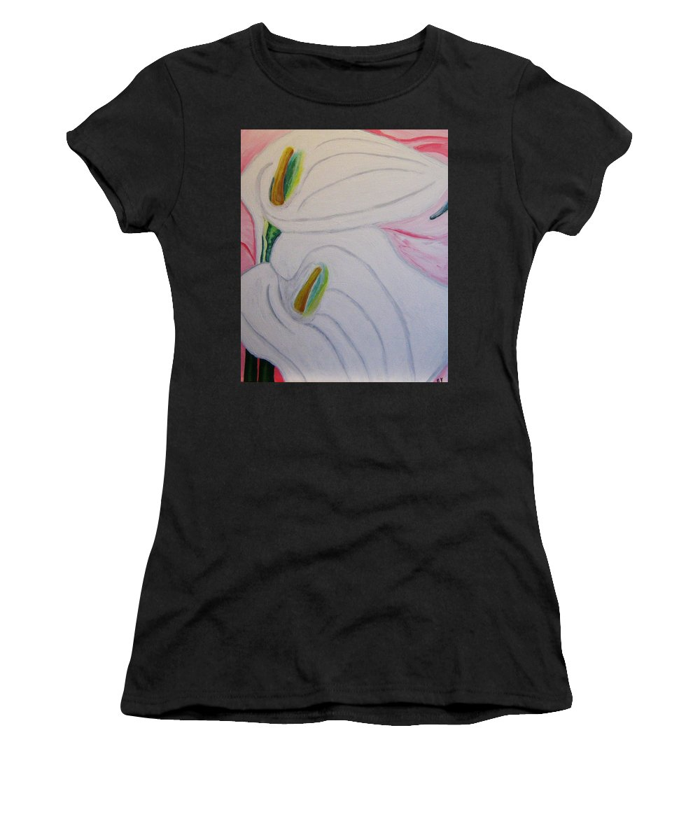 Impressionism Women's T-Shirt (Athletic Fit) featuring the painting Cala Lillies by Barbara Yearty