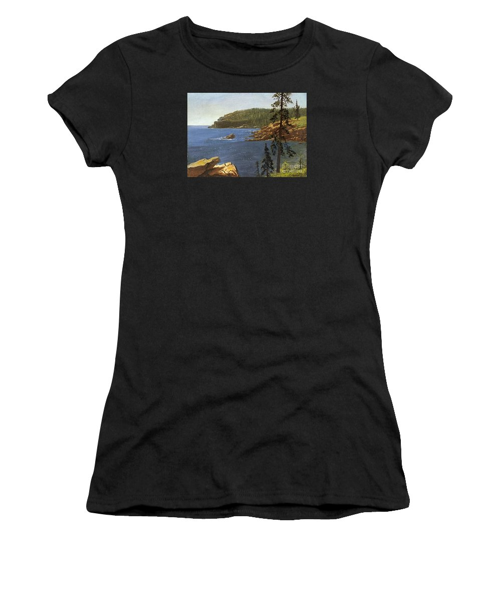 Albert Bierstadt Women's T-Shirt (Athletic Fit) featuring the painting California Coast by Celestial Images