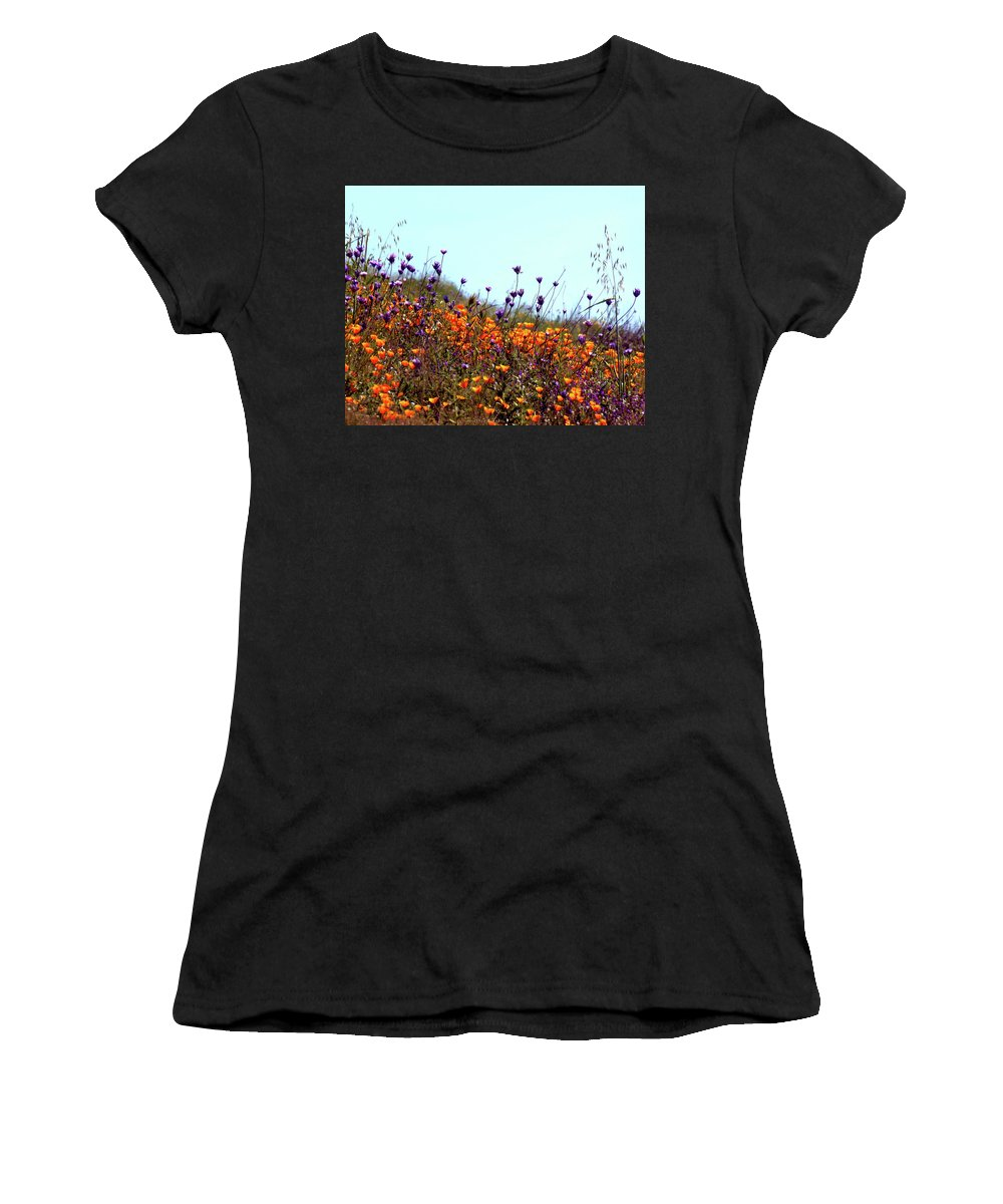 California Poppies Women's T-Shirt (Athletic Fit) featuring the photograph California Poppies And Wildflowers by Janice Sobien