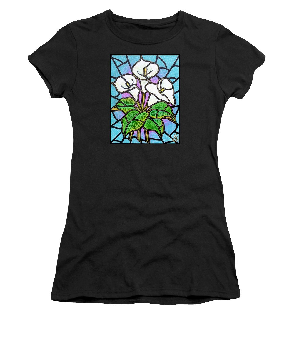Flowers Women's T-Shirt (Athletic Fit) featuring the painting Calla Lilies 3 by Jim Harris