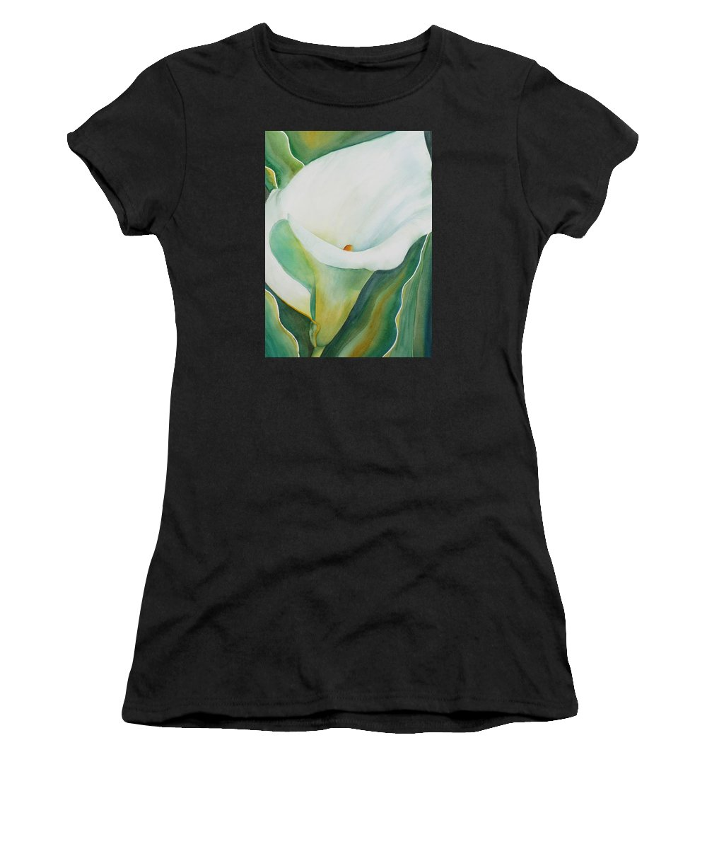 Flower Women's T-Shirt (Athletic Fit) featuring the painting Calla Lily by Ruth Kamenev