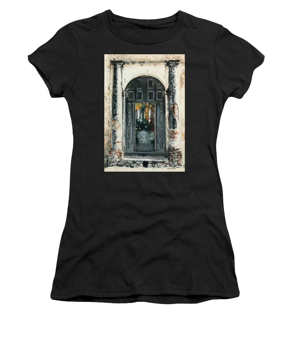 Hyperrealism Women's T-Shirt (Athletic Fit) featuring the painting Calle Tapachula - 2 Doors Open by Michael Earney