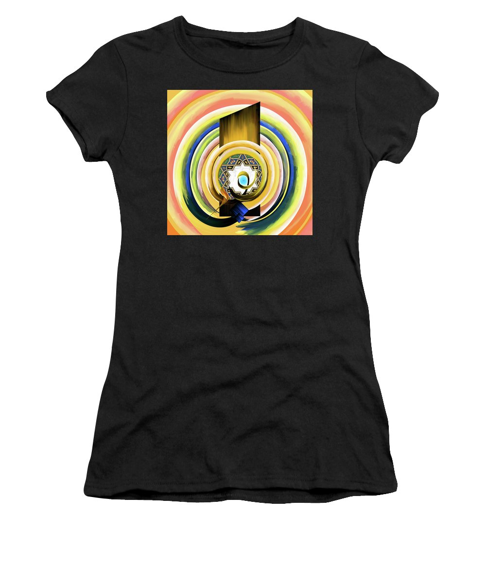 Abstract Women's T-Shirt (Athletic Fit) featuring the painting Calligraphy 104 3 by Mawra Tahreem
