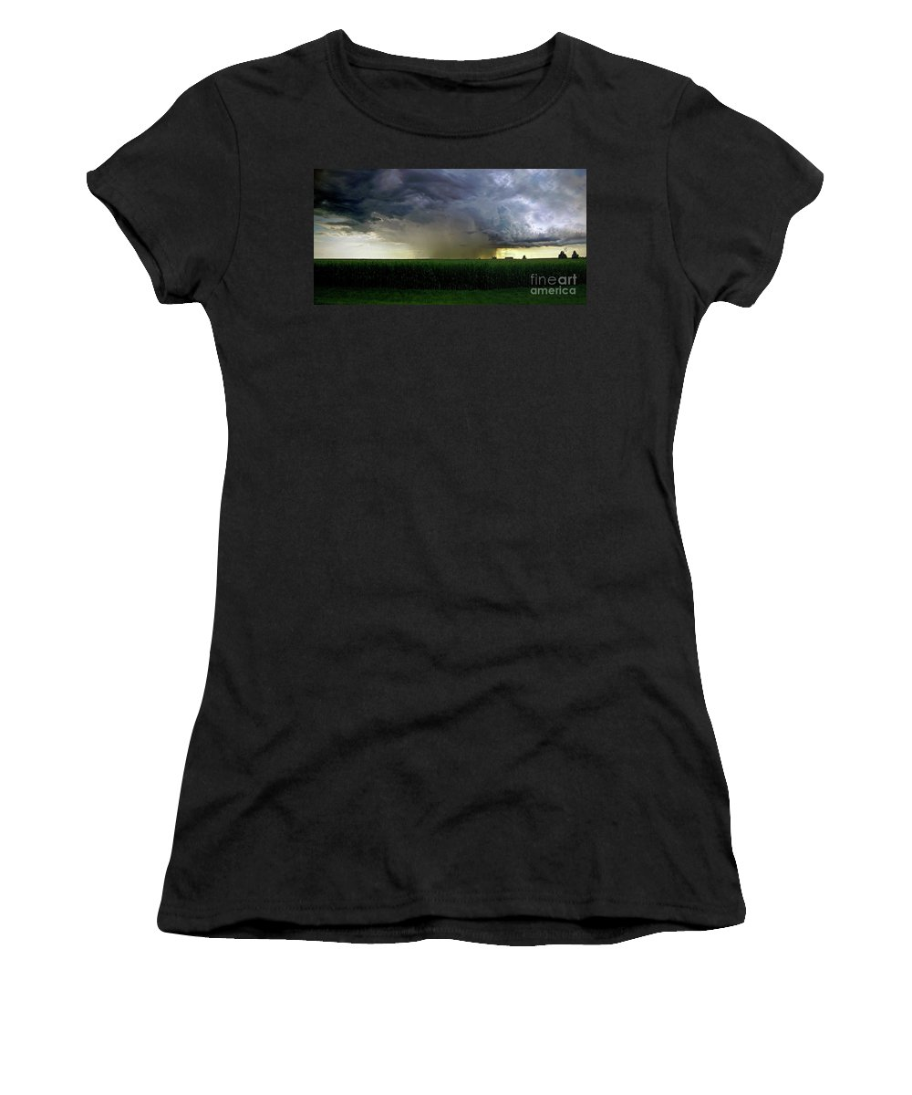 Color Photography Women's T-Shirt (Athletic Fit) featuring the photograph Calm Before The Storm by Sue Stefanowicz