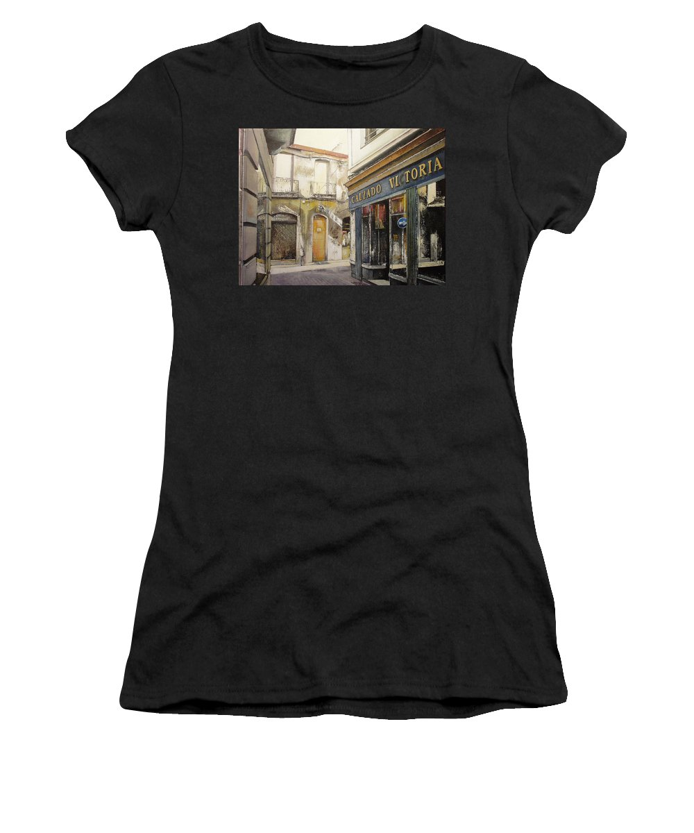 Calzados Women's T-Shirt (Athletic Fit) featuring the painting Calzados Victoria-leon by Tomas Castano