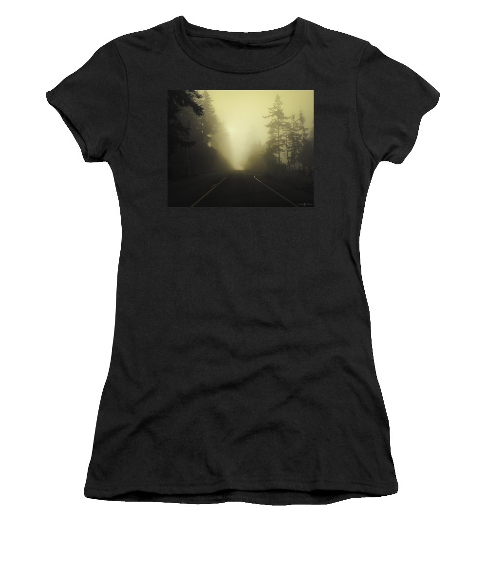 Fog Women's T-Shirt featuring the photograph Camano Island Fog by Tim Nyberg