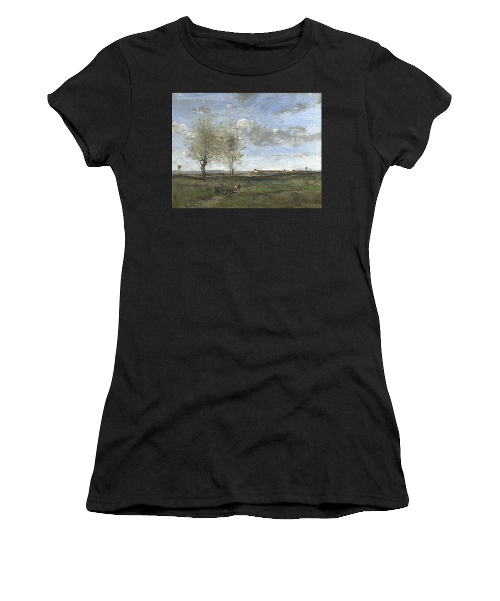 Jean Women's T-Shirt (Athletic Fit) featuring the digital art Camille Corot  A Wagon In The Plains Of Artois by PixBreak Art