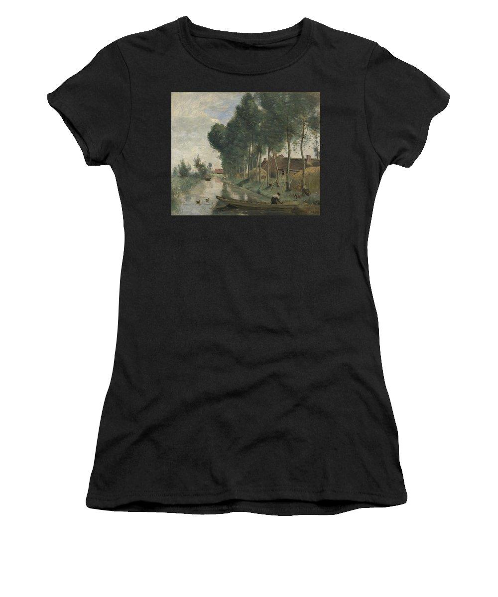 Jean Women's T-Shirt (Athletic Fit) featuring the digital art Camille Corot  Landscape At Arleux Du Nord by PixBreak Art