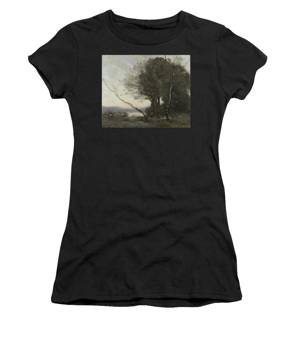 Jean Women's T-Shirt (Athletic Fit) featuring the digital art Camille Corot  The Leaning Tree Trunk by PixBreak Art