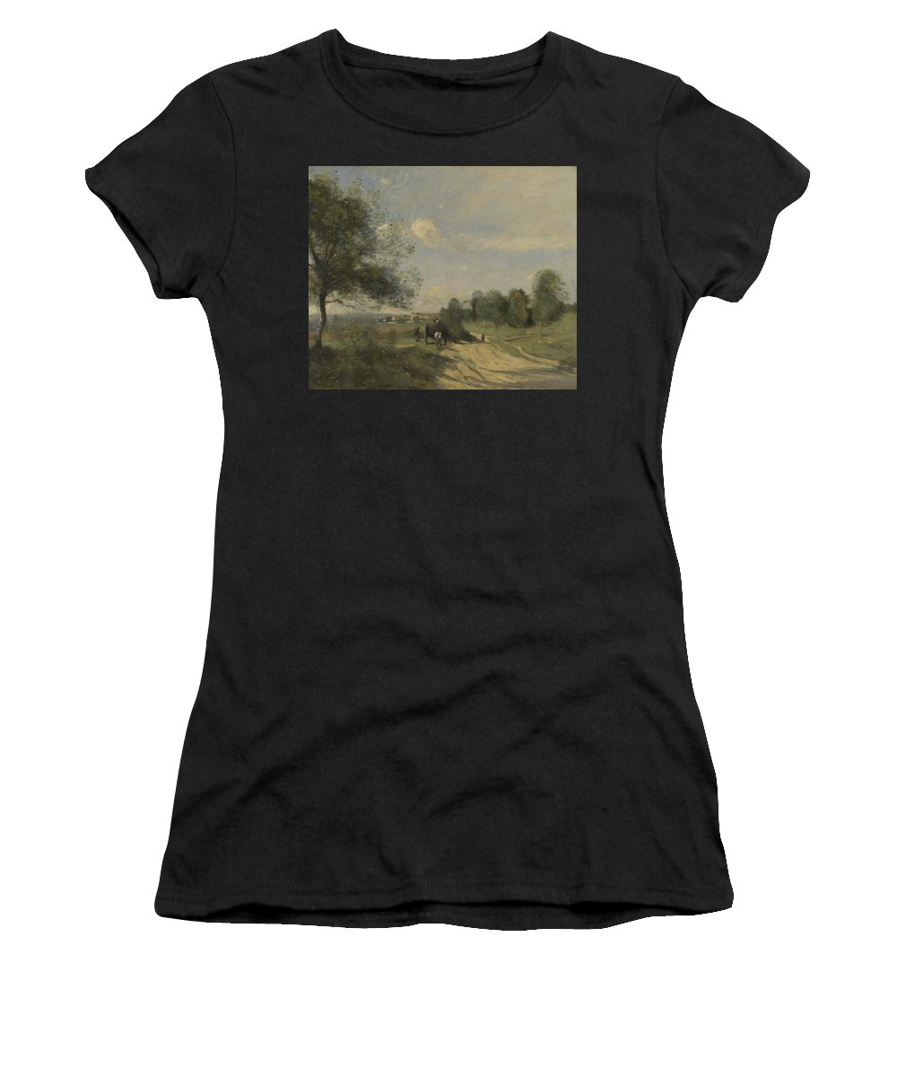 Jean Women's T-Shirt (Athletic Fit) featuring the digital art Camille Corot  The Wagon Souvenir Of Saintry by PixBreak Art