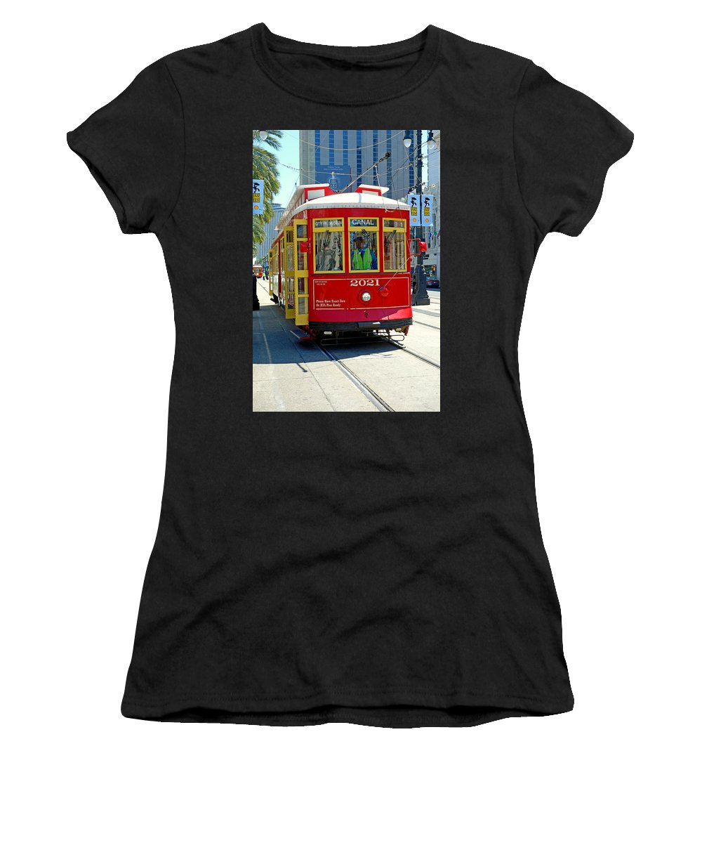 Canal Women's T-Shirt (Athletic Fit) featuring the photograph Canal Street Cable Car by Robert Meyers-Lussier