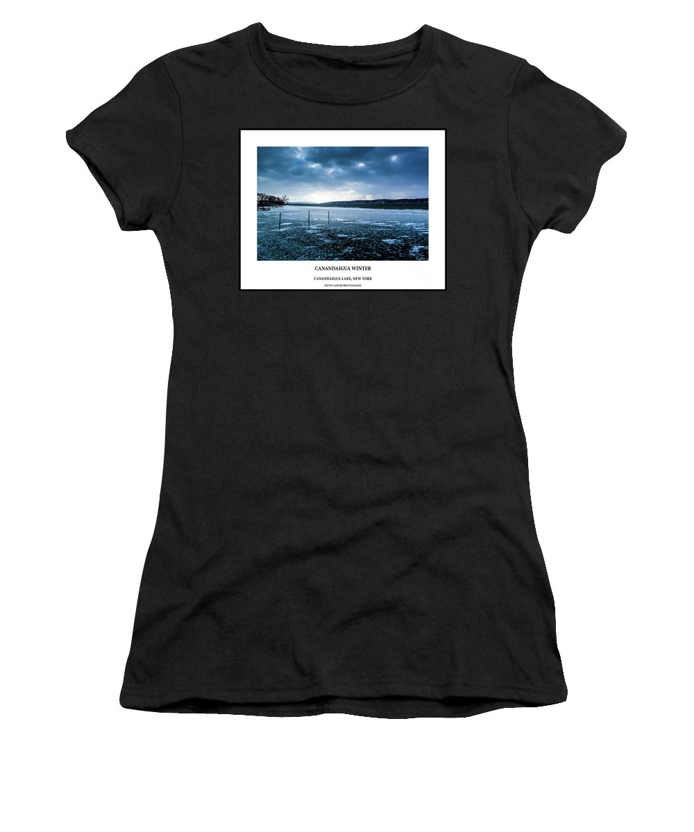 Finger Lakes Women's T-Shirt featuring the photograph Canandaigua Lake Winter by Steve Clough