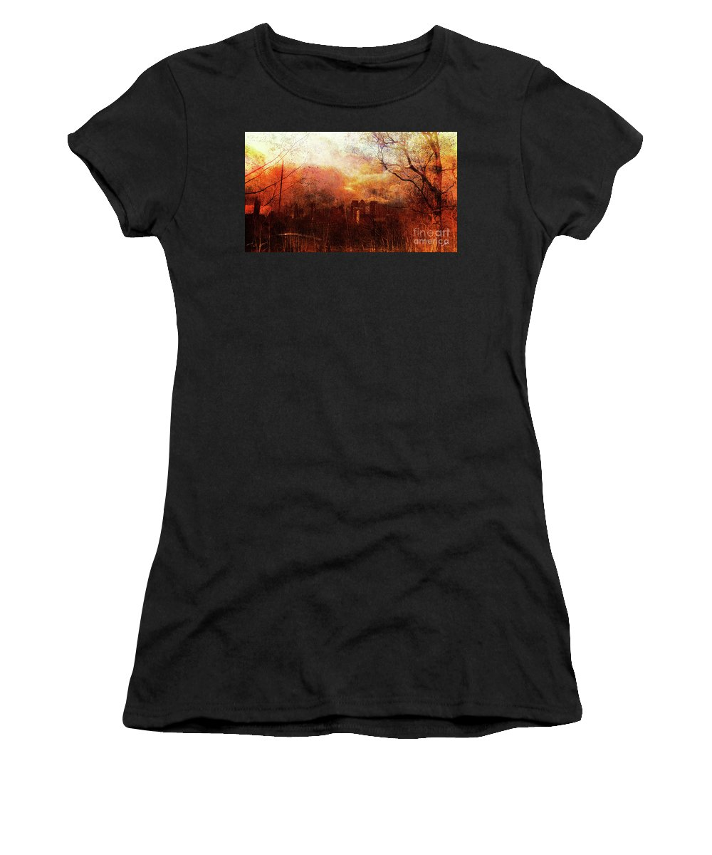 London Women's T-Shirt (Athletic Fit) featuring the mixed media Canary Wharf Dawn by Callan Art