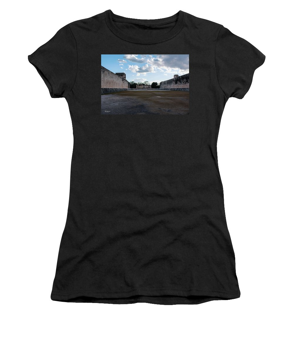 Cancun Women's T-Shirt (Athletic Fit) featuring the photograph Cancun Mexico - Chichen Itza - Great Ball Court - Open End by Ronald Reid