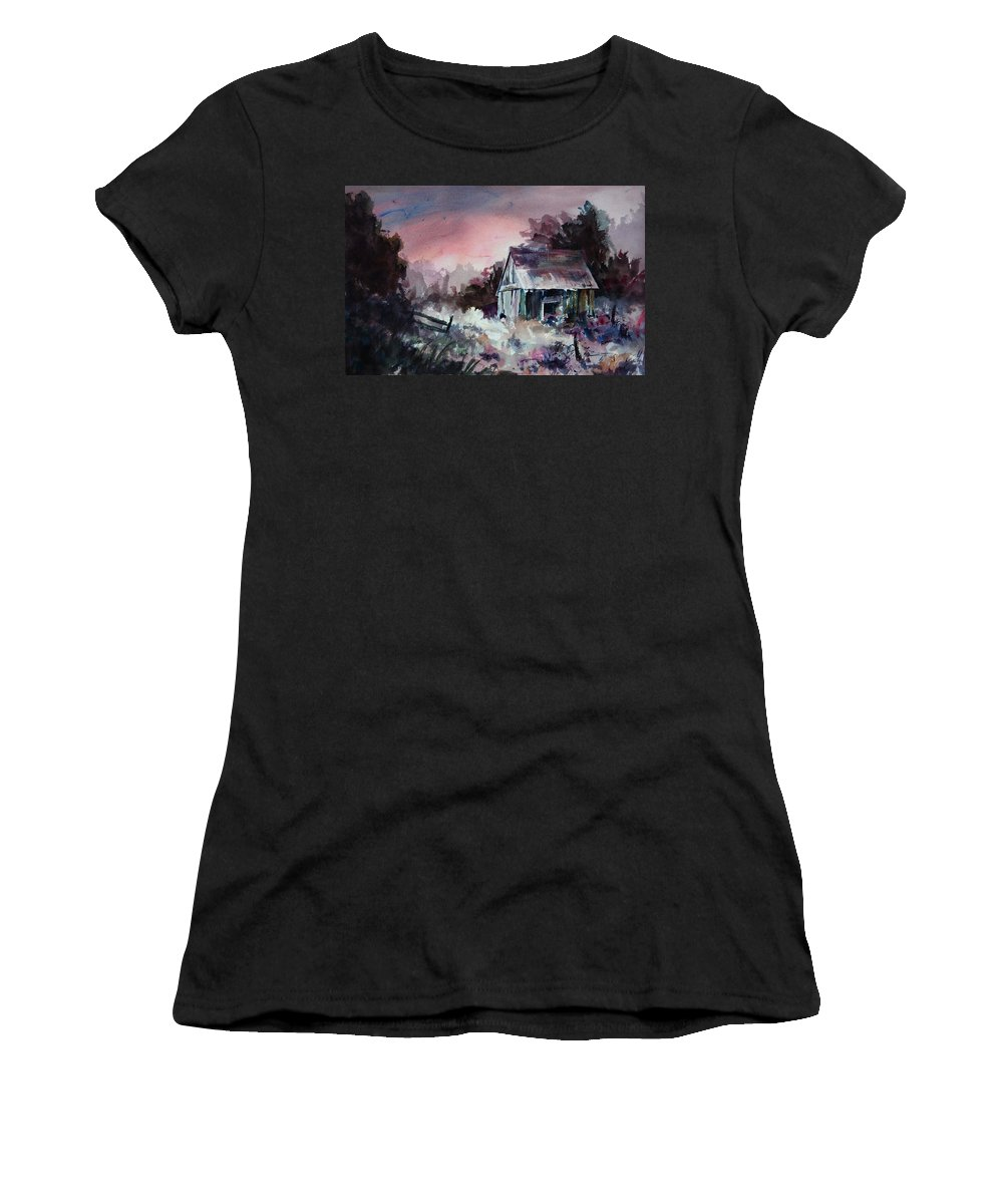 Shack Women's T-Shirt (Athletic Fit) featuring the painting Candy Cane by Rachel Christine Nowicki