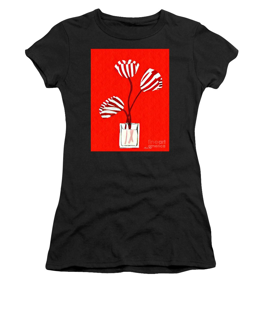 Tulip Women's T-Shirt (Athletic Fit) featuring the mixed media Candy Stripe Tulips by Sarah Loft
