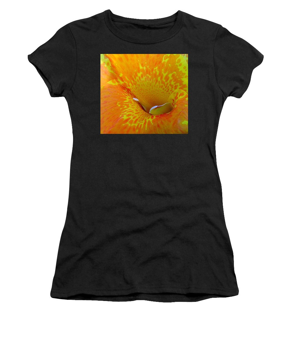 Orange Yellow Flower Women's T-Shirt (Athletic Fit) featuring the photograph Canna by Luciana Seymour