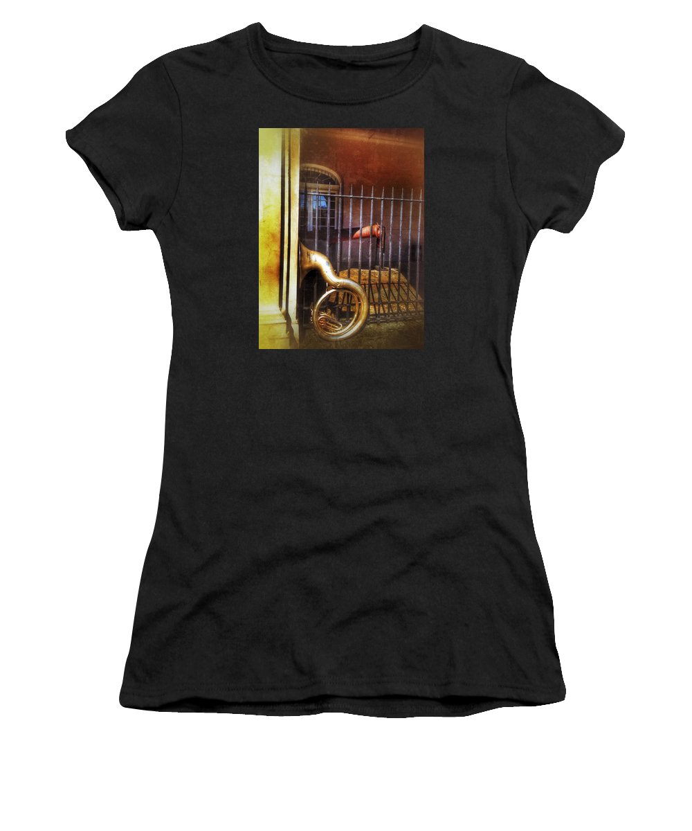 Music Women's T-Shirt (Athletic Fit) featuring the photograph Cannon And Tuba by Mark Pritchard