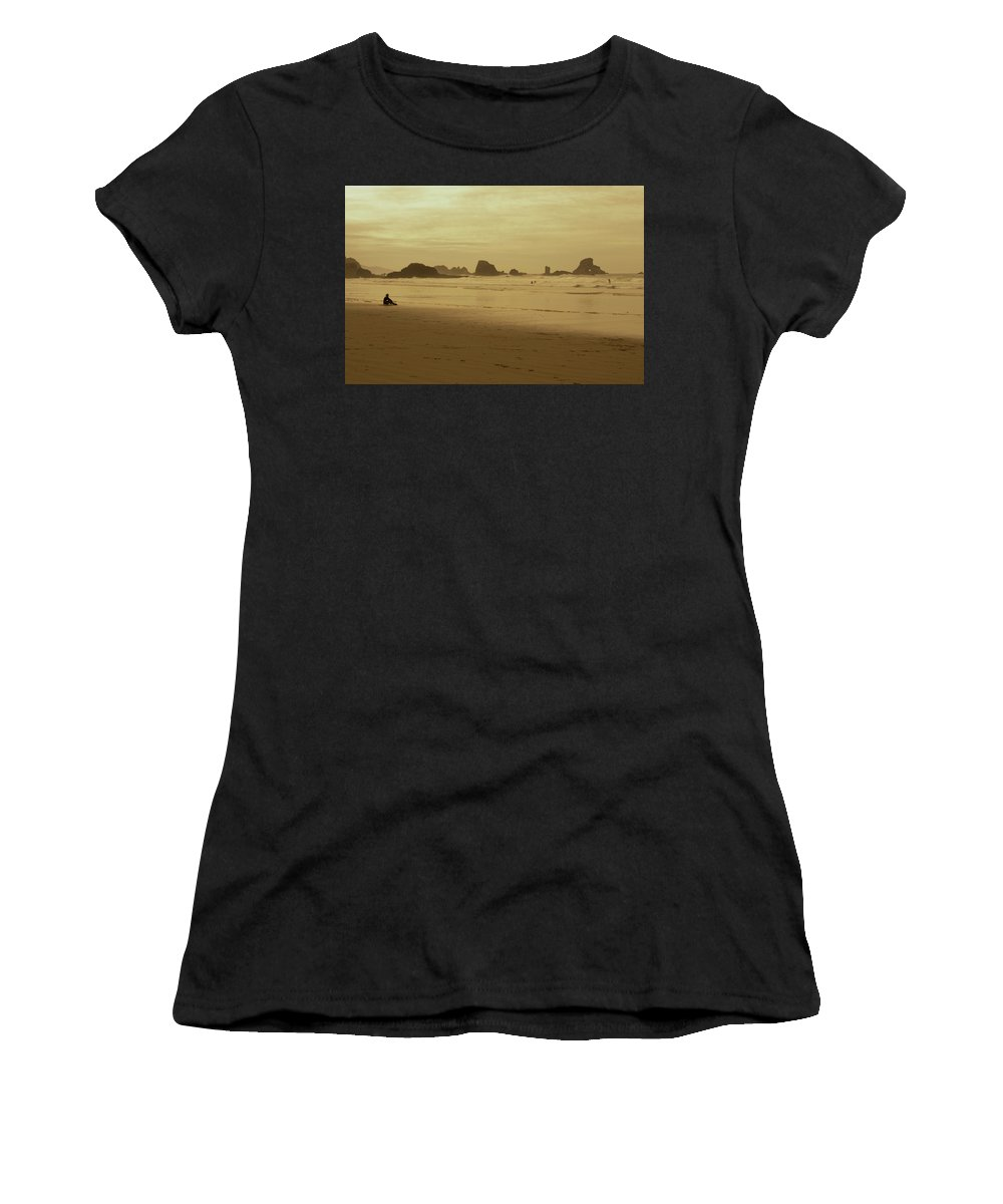 Women's T-Shirt (Athletic Fit) featuring the photograph Cannon Beach 3 by Marcel Van der Stroom