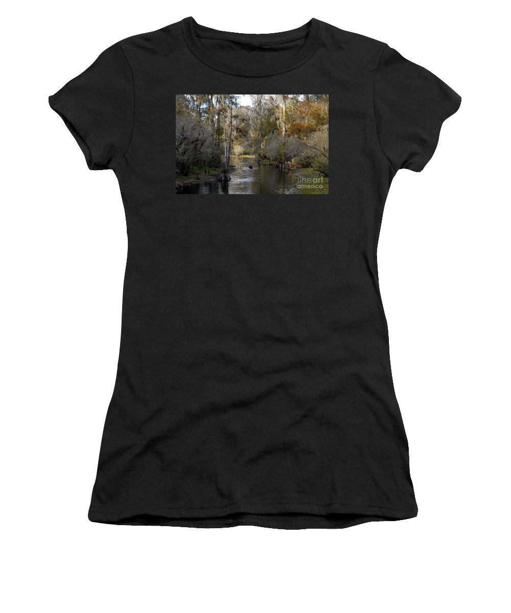 Family Women's T-Shirt (Athletic Fit) featuring the photograph Canoeing In Florida by David Lee Thompson