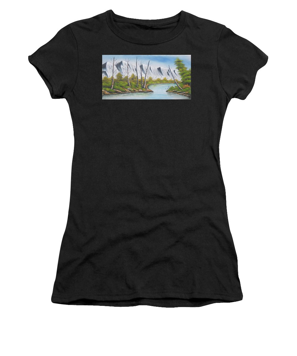 Winter Women's T-Shirt (Athletic Fit) featuring the painting Winter Season - Mountains by Pisces Art Word