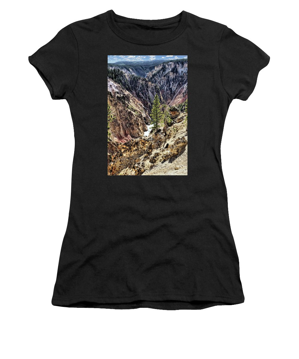 Canyons Women's T-Shirt featuring the photograph Canyon And Lower Falls by John Trommer