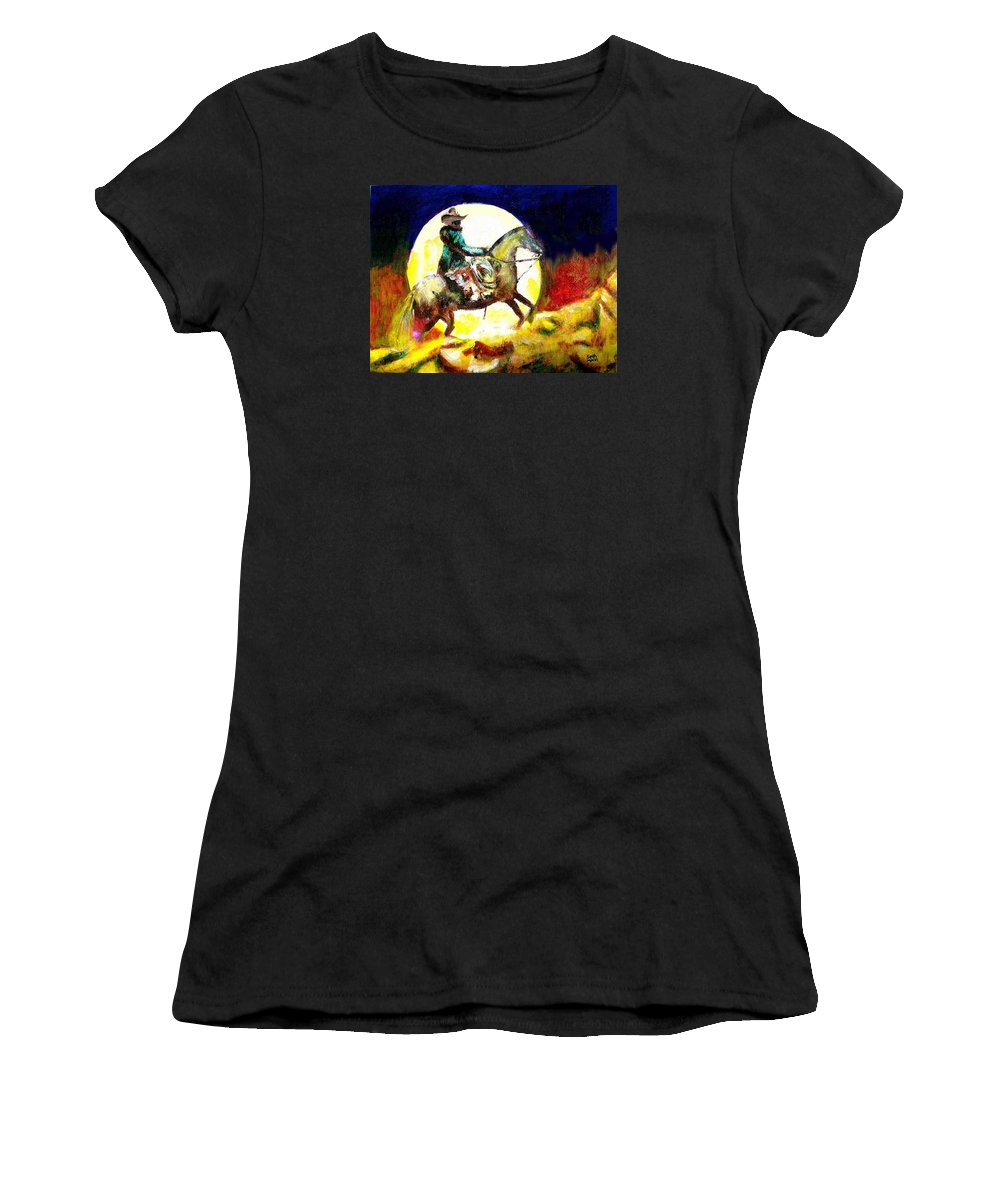 Canyon Moon Women's T-Shirt (Athletic Fit) featuring the painting Canyon Moon by Seth Weaver