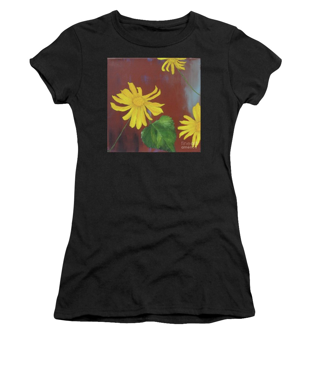 Canyon Sunflower Women's T-Shirt featuring the painting Canyon Sunflower by Stacey Best