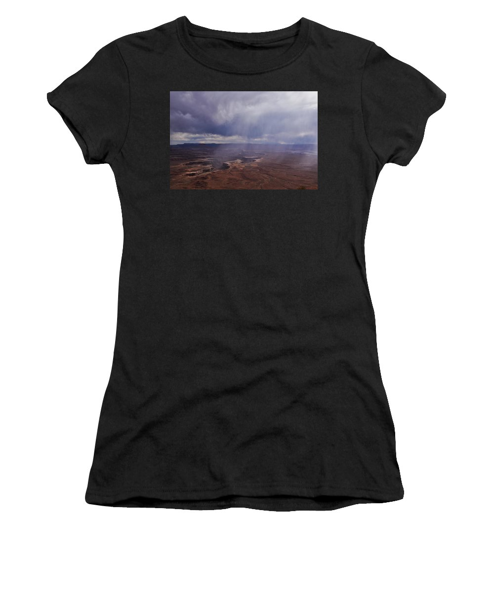 Canyonlands National Park Women's T-Shirt (Athletic Fit) featuring the photograph Canyonlands Rain On The Green River by Flo McKinley