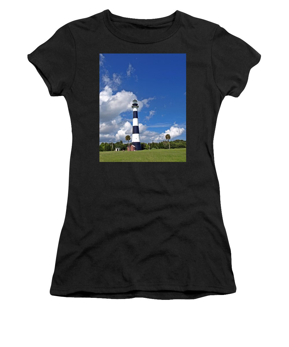 Lighthouse; Light; Canaveral; Cape; Cape Canaveral; Ccafs; Florida; East; Coast; Kennedy; Space; Cen Women's T-Shirt (Athletic Fit) featuring the photograph Cape Canaveral Light In Florida by Allan Hughes
