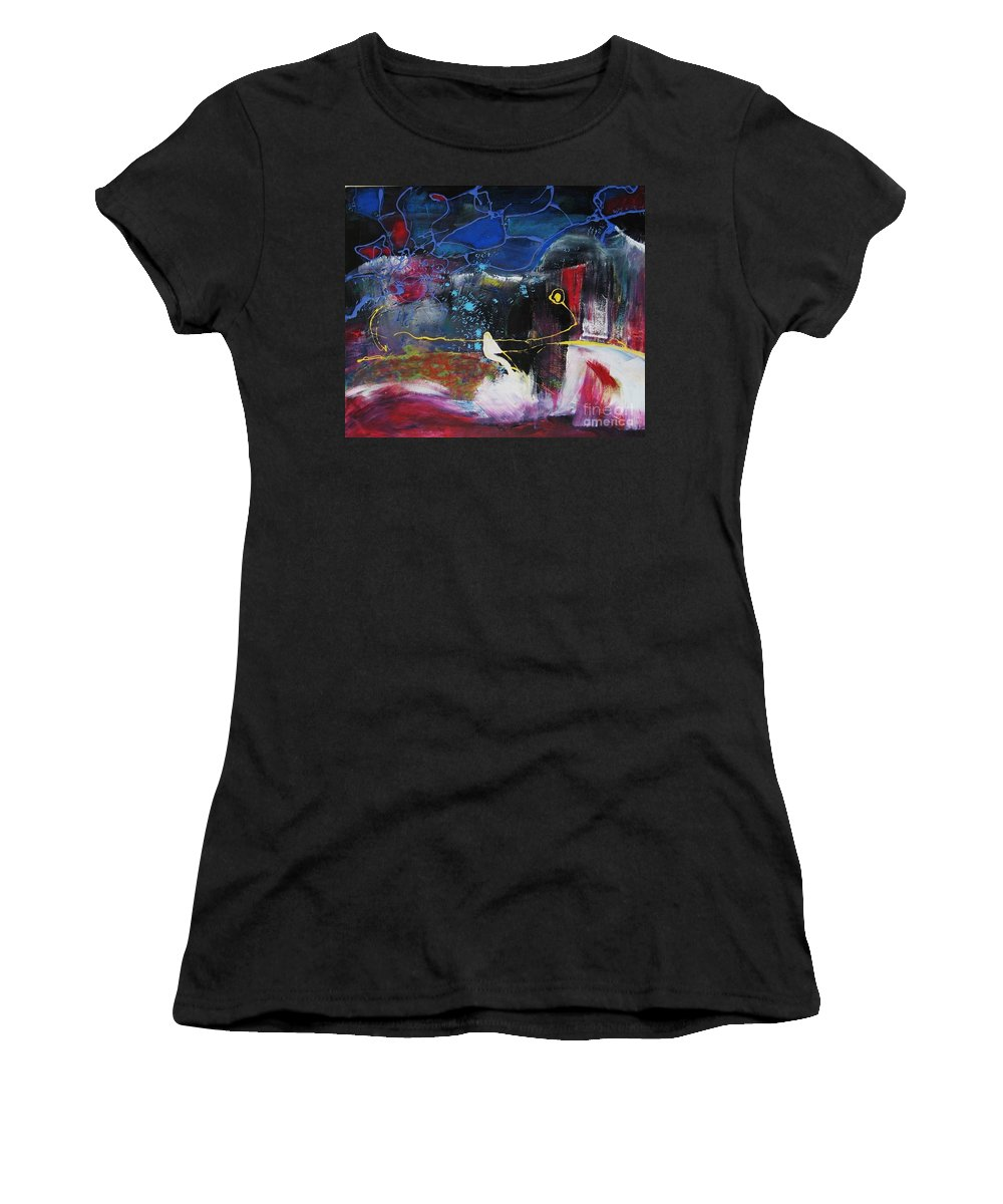 Abstract Women's T-Shirt (Athletic Fit) featuring the painting Cape Spear by Seon-Jeong Kim