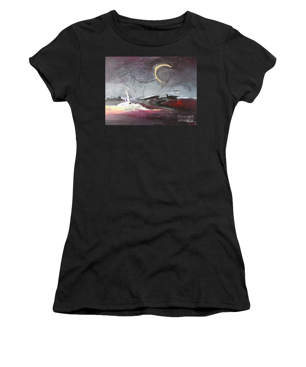 Abstract Paintings Women's T-Shirt (Athletic Fit) featuring the painting Cape St. Mary by Seon-Jeong Kim