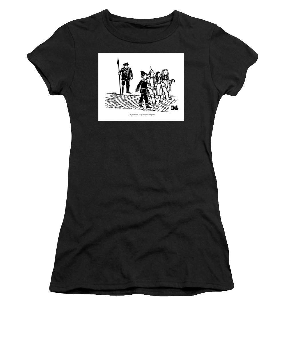 Cctk Captain Ahab Women's T-Shirt featuring the drawing Captain Ahab Stands Speaking At The Yellow Brick by Drew Dernavich