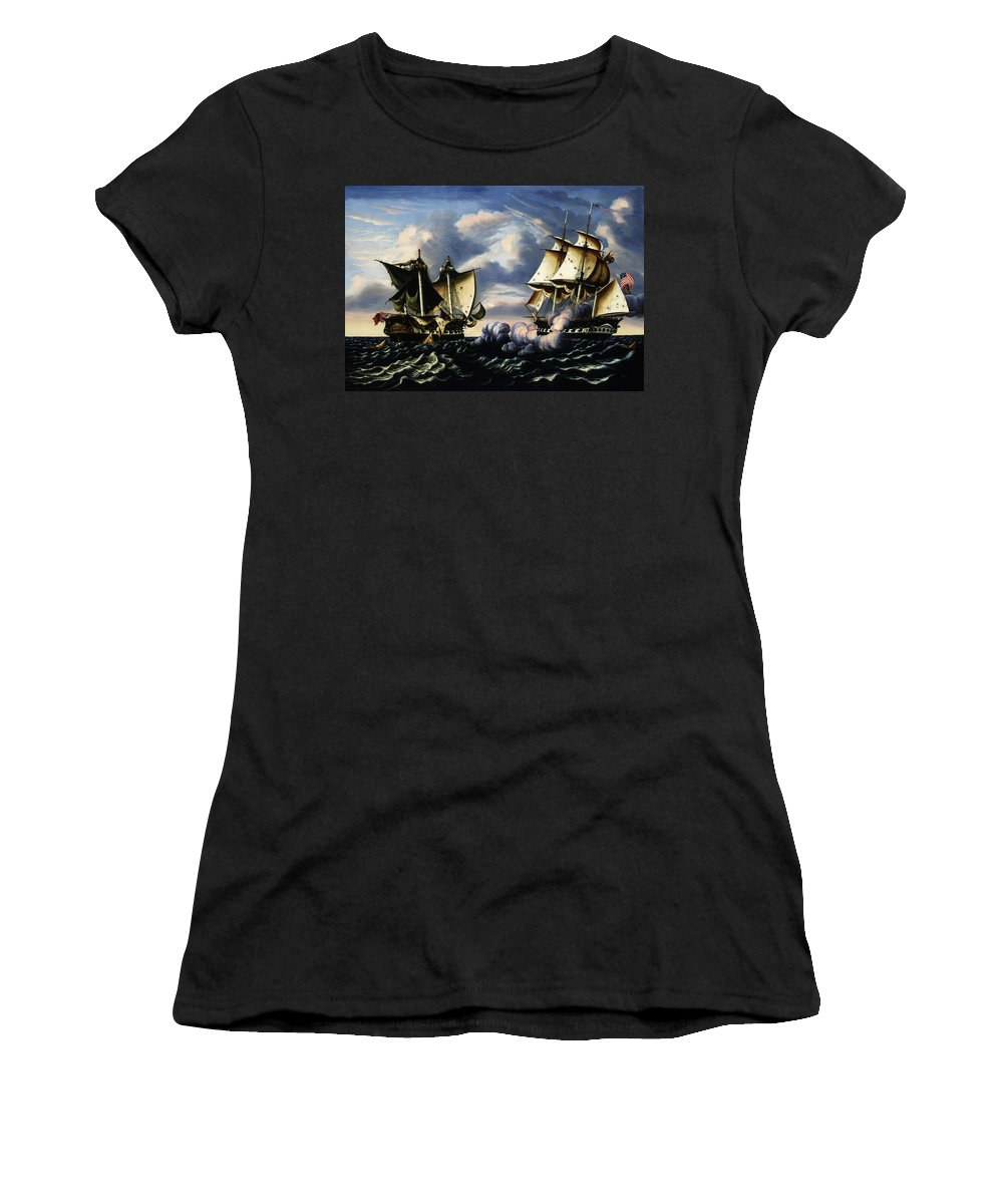 American Art Women's T-Shirt (Athletic Fit) featuring the painting Capture Of H.b.m. Frigate Macedonian By U.s. Frigate United States, October 25, 1812 by Thomas Chambers