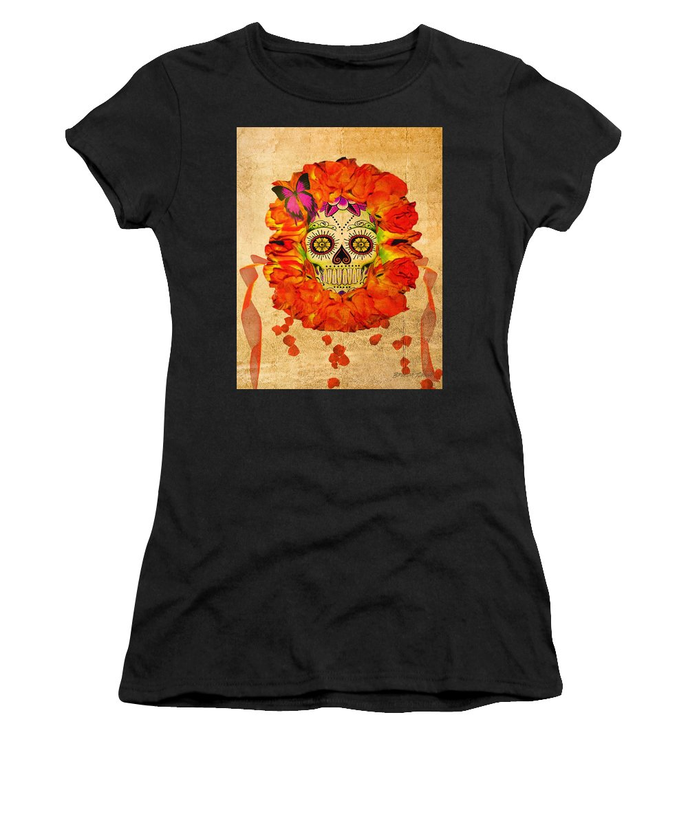 Cara De La Flor Women's T-Shirt (Athletic Fit) featuring the digital art Cara De La Flor by Brenda Turner