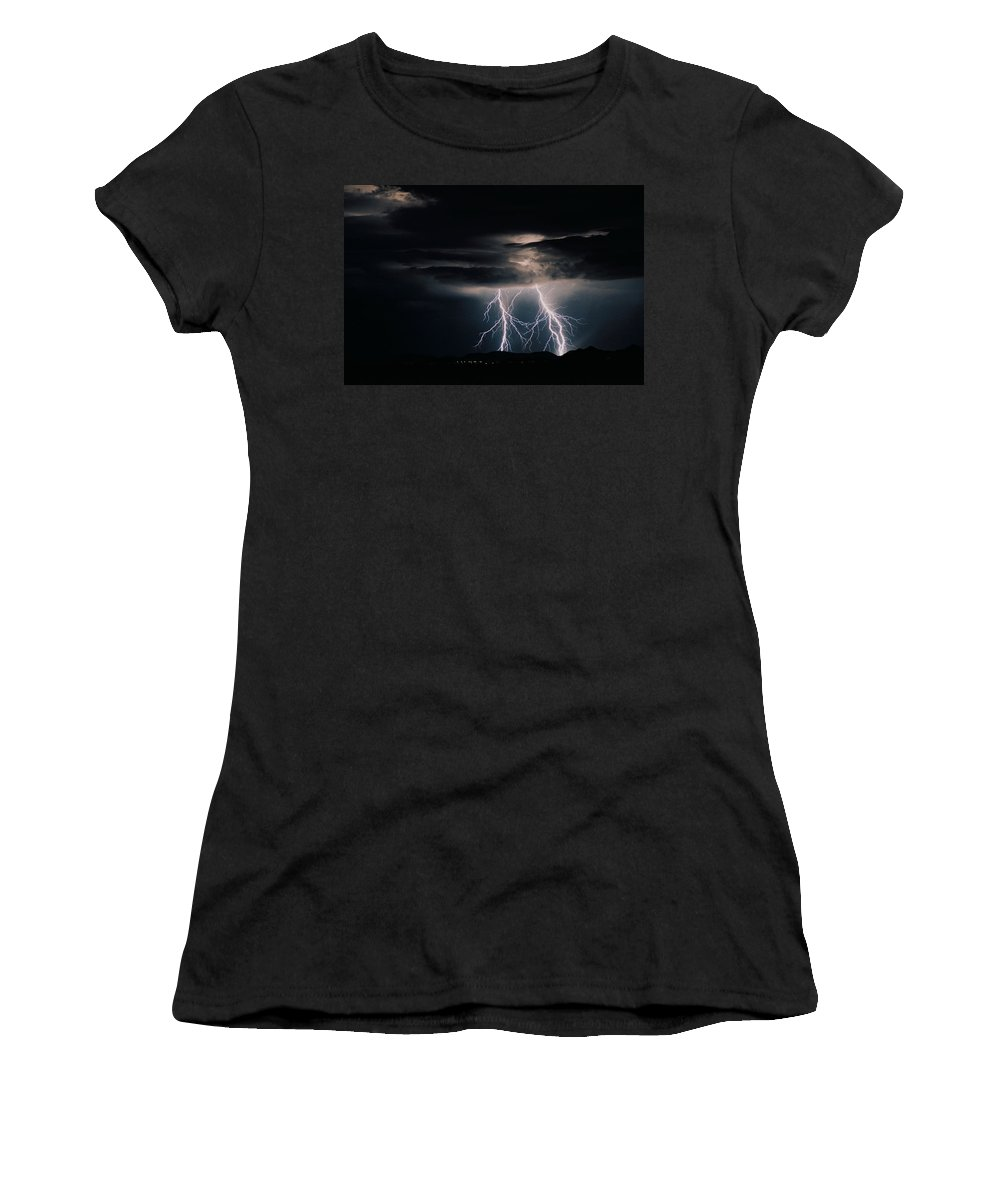 Arizona Women's T-Shirt (Junior Cut) featuring the photograph Carefree Lightning by Cathy Franklin