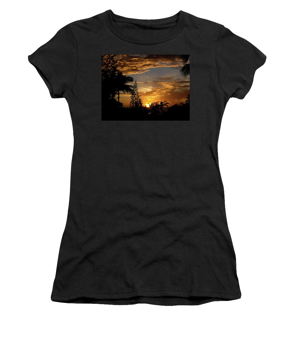 Sunset Women's T-Shirt (Athletic Fit) featuring the photograph Caribbean Sunset by Galexa Ch