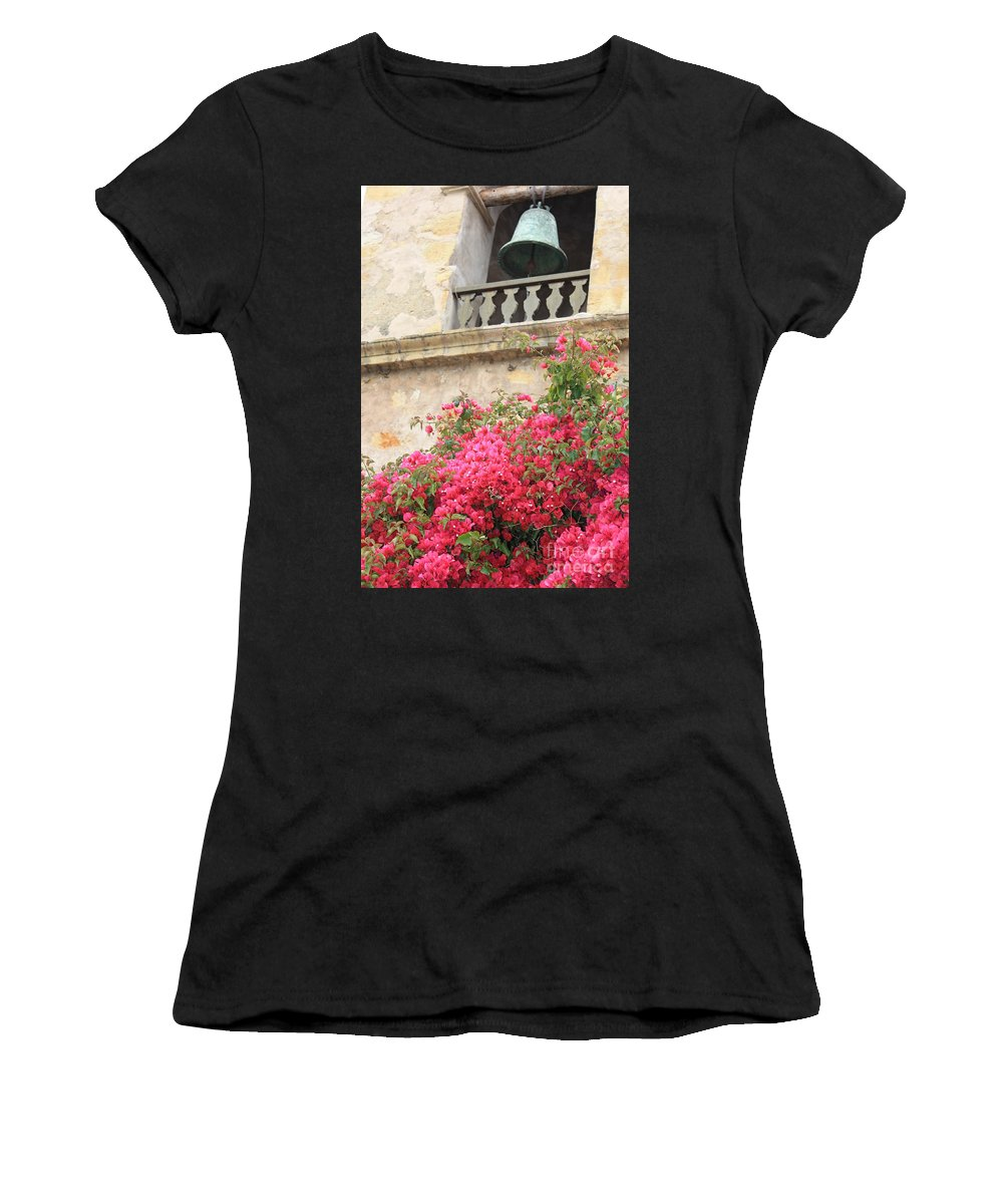 Carmel-by-the-sea Women's T-Shirt featuring the photograph Carmel Mission Bell by Carol Groenen