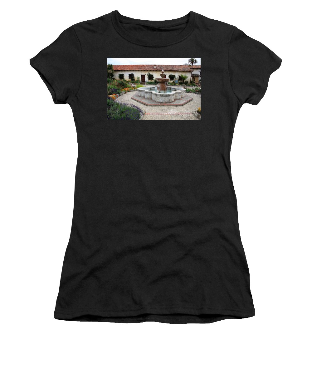 Catholic Women's T-Shirt featuring the photograph Carmel Mission Courtyard by Carol Groenen