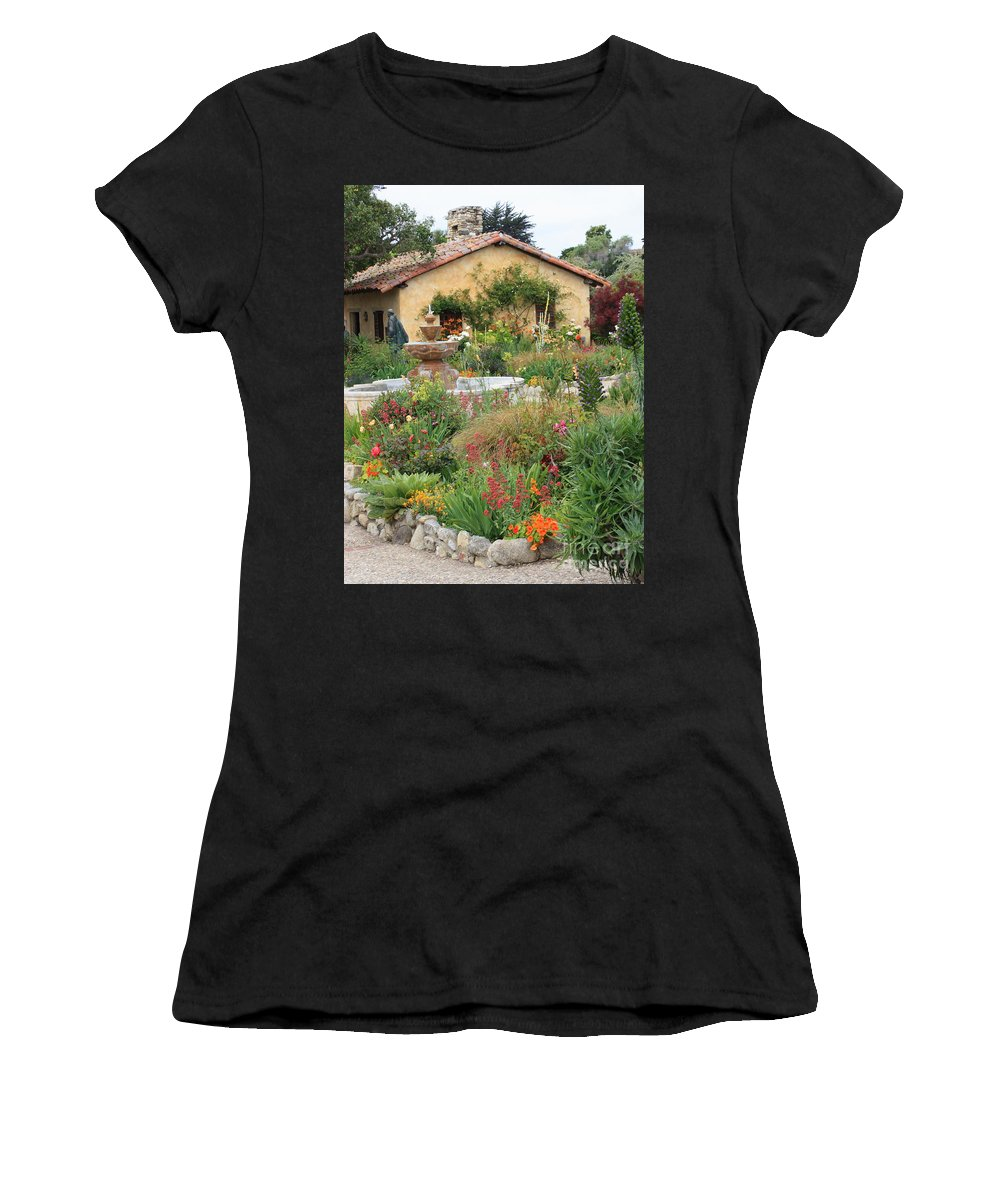 Carmel Mission Courtyard Women's T-Shirt (Athletic Fit) featuring the photograph Carmel Mission Courtyard Garden by Carol Groenen