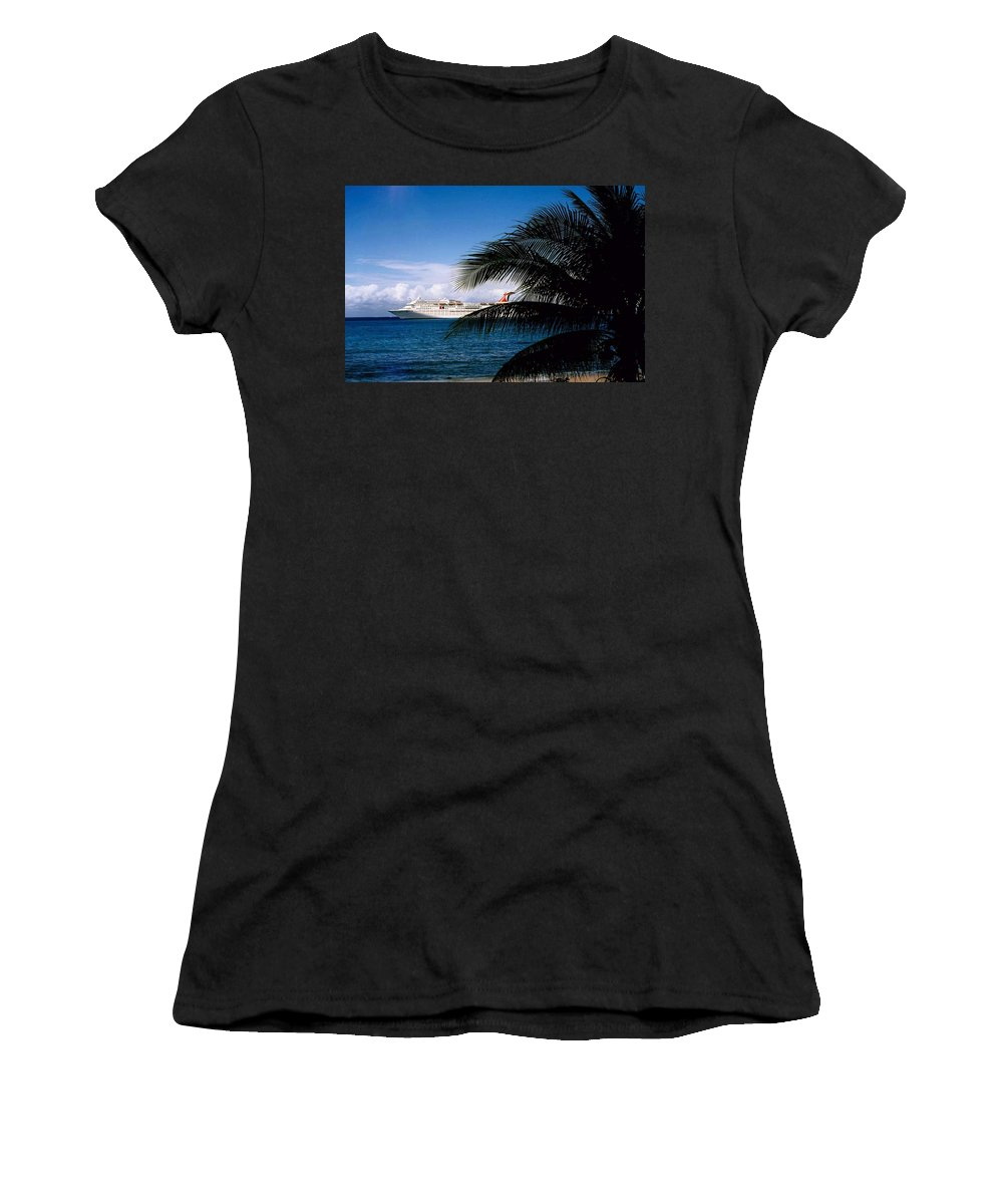 Druise Women's T-Shirt featuring the photograph Carnival Docked At Grand Cayman by Gary Wonning