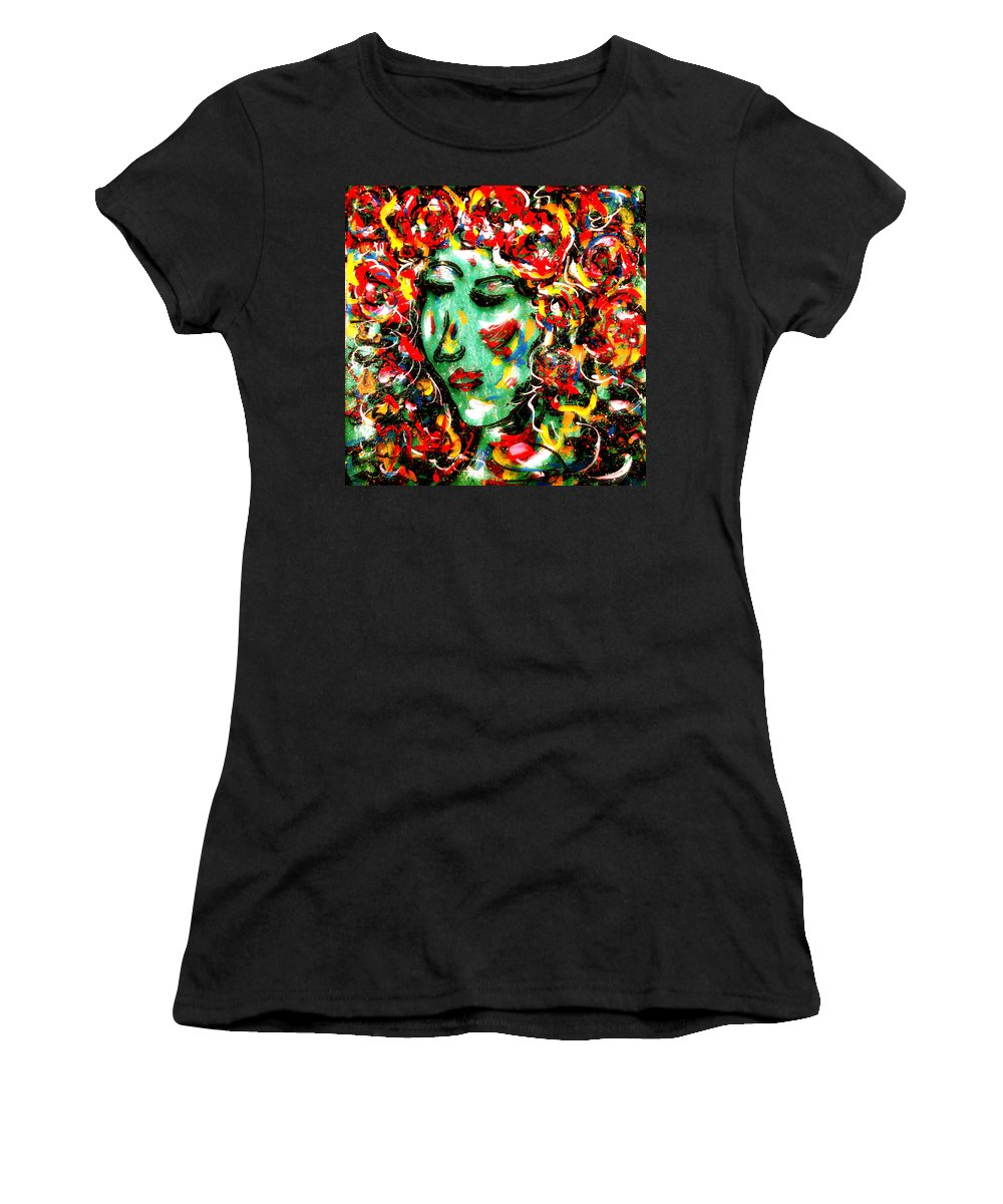 Girl Women's T-Shirt (Athletic Fit) featuring the painting Carnival Girl by Natalie Holland