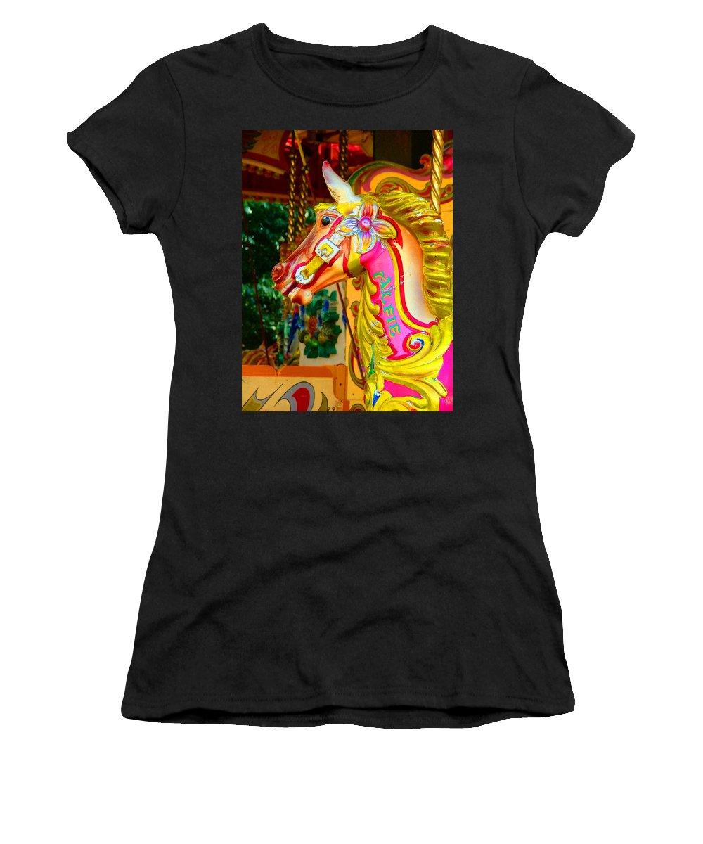 Alfie Women's T-Shirt featuring the photograph Carousel Horse London Alfie England by Heather Lennox