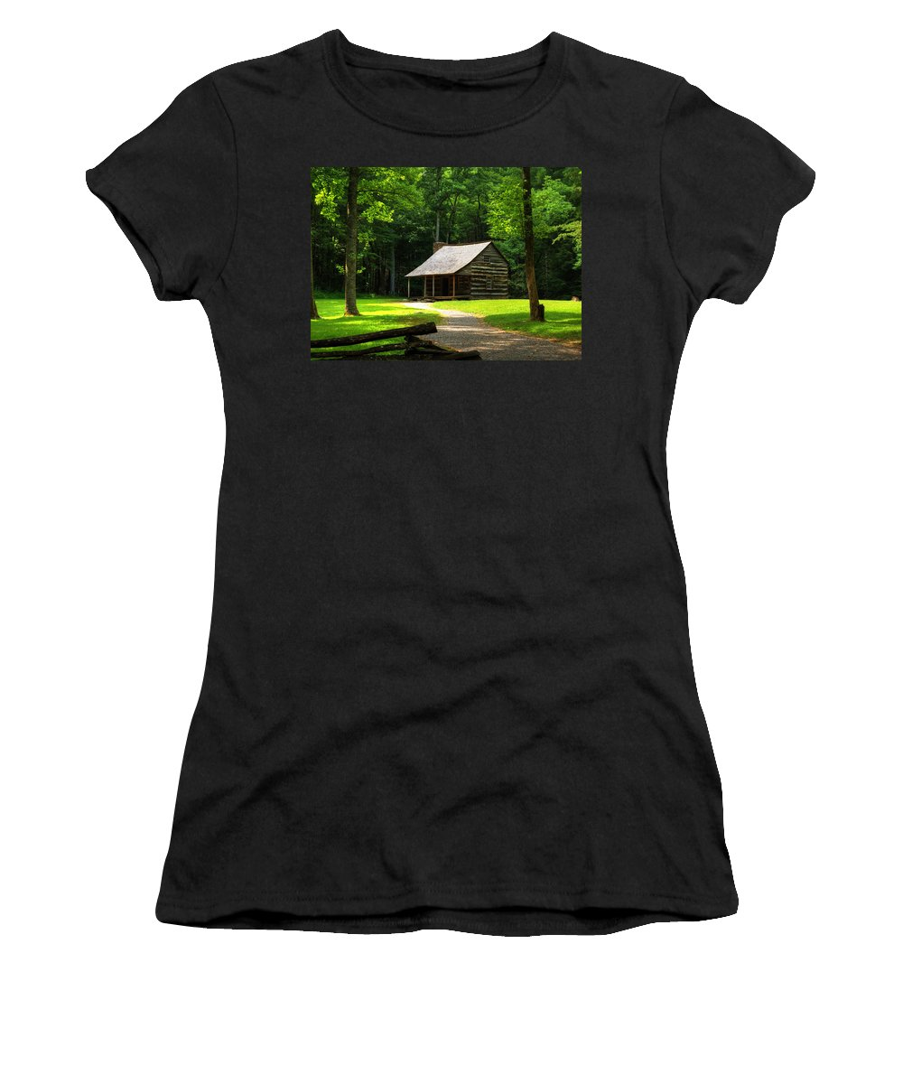 Cabin Women's T-Shirt (Athletic Fit) featuring the photograph Carter Shields Cabin by Darin Williams